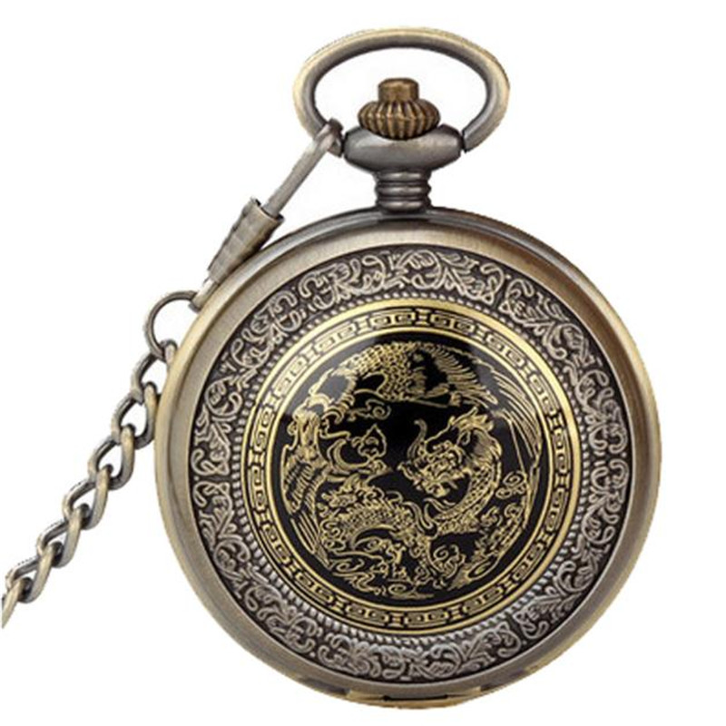 Fashion Vintage Retro Bronze Dragon Phoenix Quartz Pocket Watch Pendant Chain Necklace relogio masculino Dropshipping  NMX10 antique retro bronze car truck pattern quartz pocket watch necklace pendant gift with chain for men and women gift