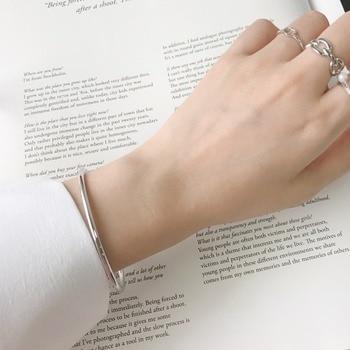 100% Plata de Ley 925 ronda círculo único brazalete simple fino alambre pulseras del encanto para las mujeres de regalo de la joyería