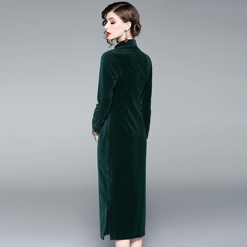 Vert Femmes Chinois Qipao Parti Printemps mollet automne Élément Charme Robe Classique Sexy Rétro 2019 Mi Moderne wBq4CxzzTR