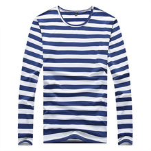 Hotsale Fashion T Shirt for Men New 2017 Brand Trend Striped Shirts O Neck Long Sleeve Navy Suit Mens Tee Tops 3XL 4XL