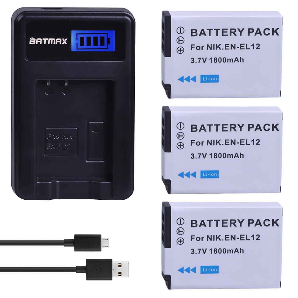 3 batteries de caméra EN EL12 1800mAh + chargeur LCD USB, pour NIKON Coolpix AW100 AW120 S9900 S9500 S9200 S8200 S6300 P330