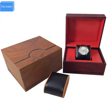New design wood watch case watches box with Velvet inner PU leather pillow, factory supply customize logo