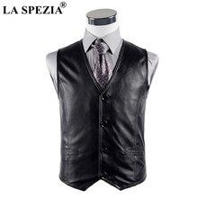 LA SPEZIA Leather Waistcoat Men Casual Black Vest Male Genuine Leather Button Vintage Autumn Designer Classic Sleeveless Jacket
