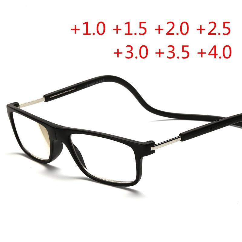 Las gafas magnéticas de moda pueden colgar alrededor del cuello Imán frontal Conectar Gafas de lectura Diseño de marca Dioptrías Gafas de lectura