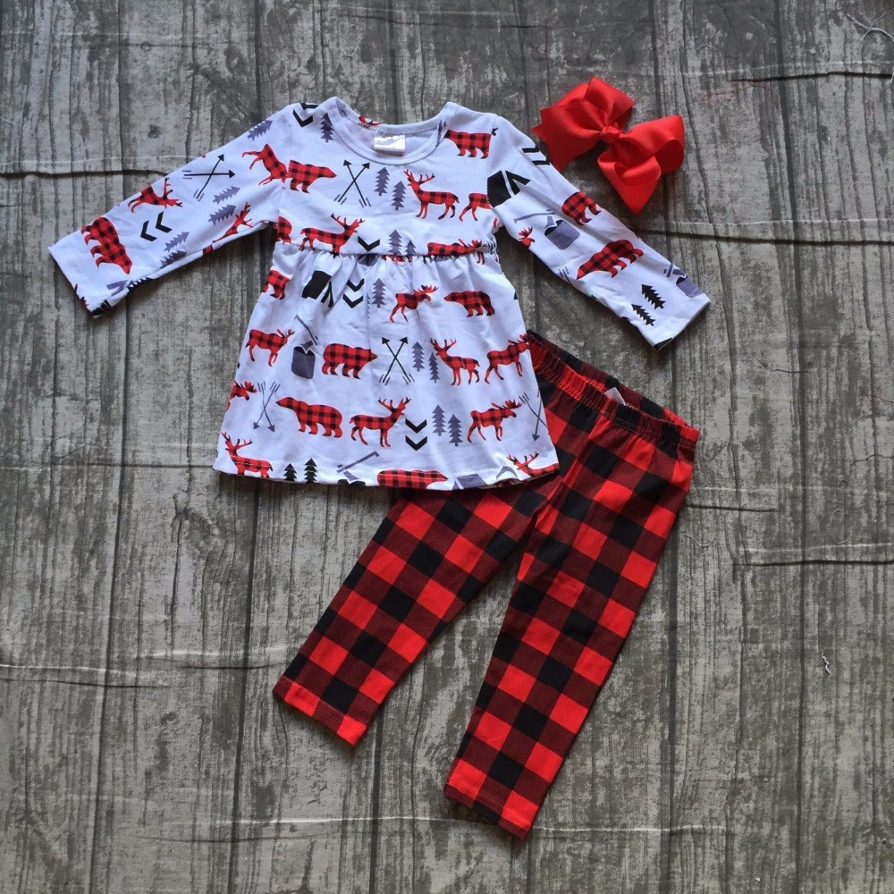 baby girls winter OUTFITS girls MOOSE top with long pant clothing girls Christmas boutique clothes plaid pants with accessories christmas baby girls children clothes off shoulder boutique cotton it s cold outside outfits plaid snowflake match accessories