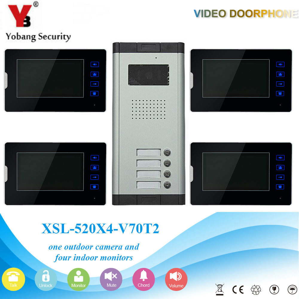 YobangSecurity 4 Units Apartment Video Intercom 7 Inch Monitor Wired Video Doorbell Door Phone Speakphone Intercom System Kit apartment intercom system 7 inch monitor 6 units apartment video door phone intercom system video intercom doorbell kit
