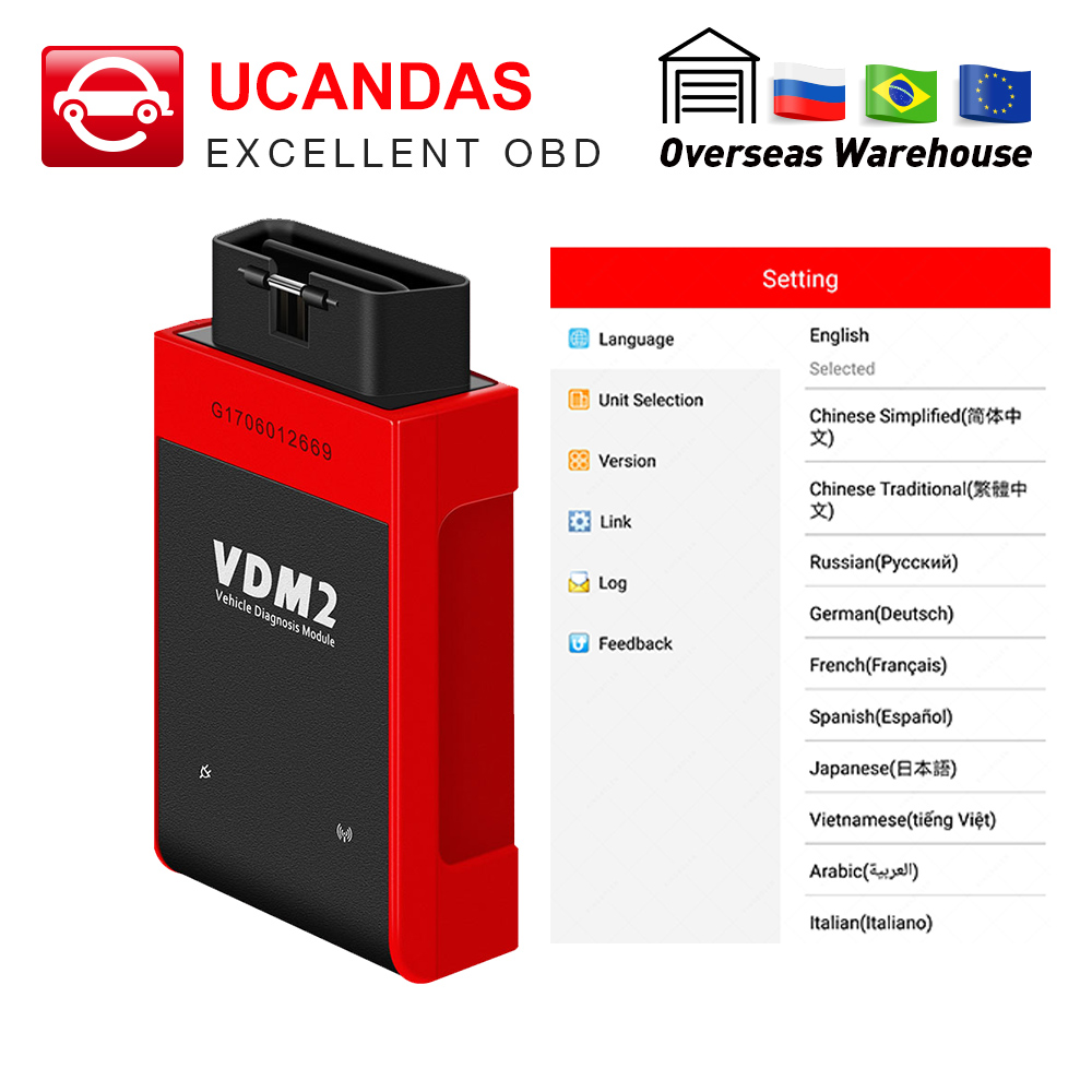 UCANDAS VDM2 VDMII WIFI Auto Diagnostic Scanner V5.2 For Android Multi-Language