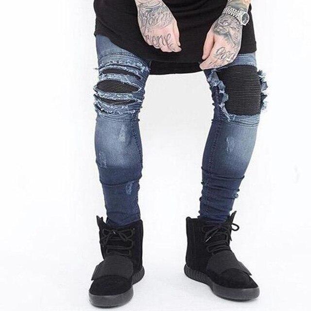 55b110f309b Européen et américain all-match mode jeune homme jambe droite pantalon  Locomotive pli Biker Jeans
