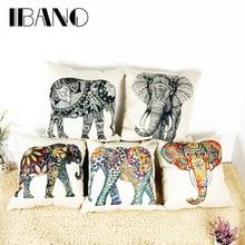 купить IBANO Vintage Elephant Design Cushion Cover Double-side Printing 190g/pc Cotton/Linen Car/Sofa Pillow Case Cover Decorative дешево