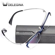 高級チタンフレームガラスハーフリムゴシック光学眼鏡処方近視老眼鏡