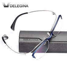 Luxe Titanium Frame Glas Half Velg Gothic Optische Brillen Frames voor recept bijziendheid leesbril