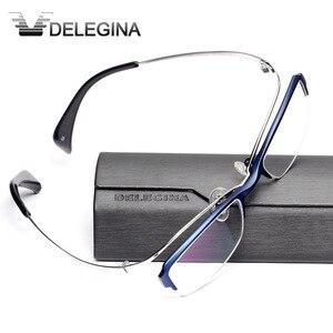 Image 1 - Luxe Titanium Frame Glas Half Velg Gothic Optische Brillen Frames voor recept bijziendheid leesbril
