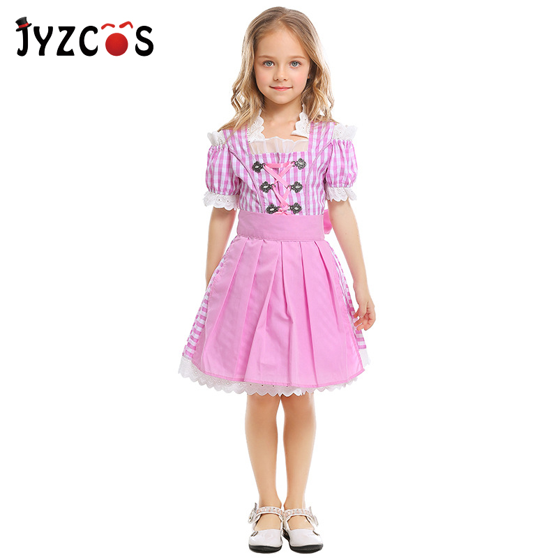 JYZCOS Girls Oktoberfest Costumes Germany Beer Festival Waiter Cosplay Costumes for Kids Halloween Carnival Costume