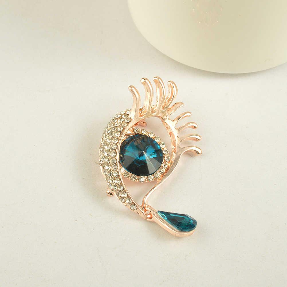 ออกแบบที่ไม่ซ้ำสีฟ้าตาและการฉีกขาดรูปร่างเข็มกลัดเข็มกลัดR Hinestoneสำหรับผู้หญิงB Outonniere Pins (โกลเด้น)