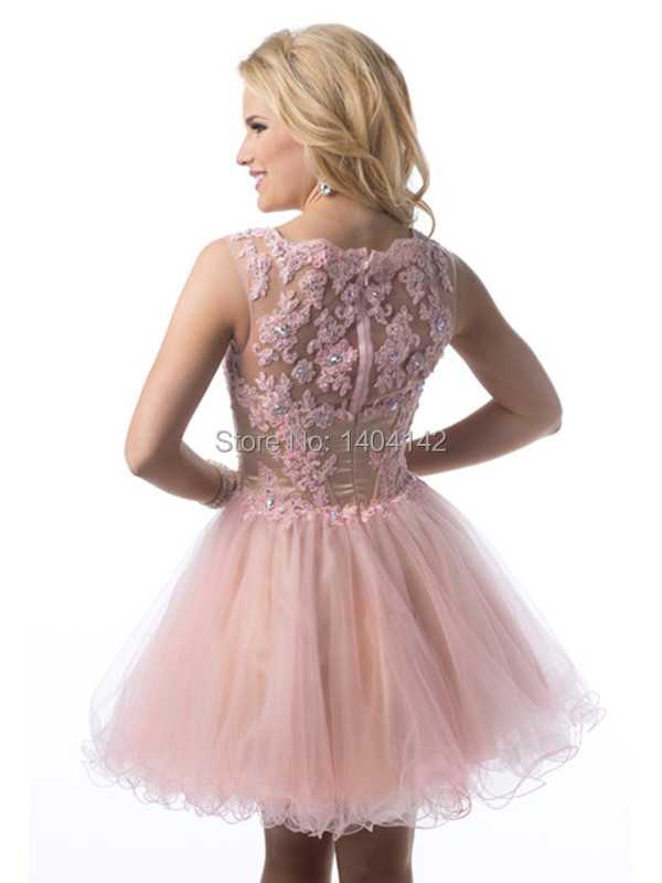 Pink Mini Short Lace Homecoming Dresses 2014 Prom Dresses Vestido ...
