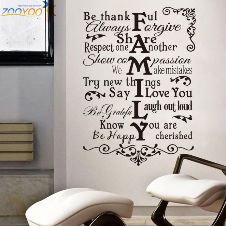 reglas de la casa pegatinas de pared decoracin para el hogar zooyoo diseo de sala de