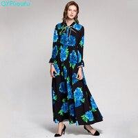 QYFCIOUFU High Quality Pleated Black Maxi Dress Womens Long Sleeve Luxury Runway Bow Floral Printed Boho