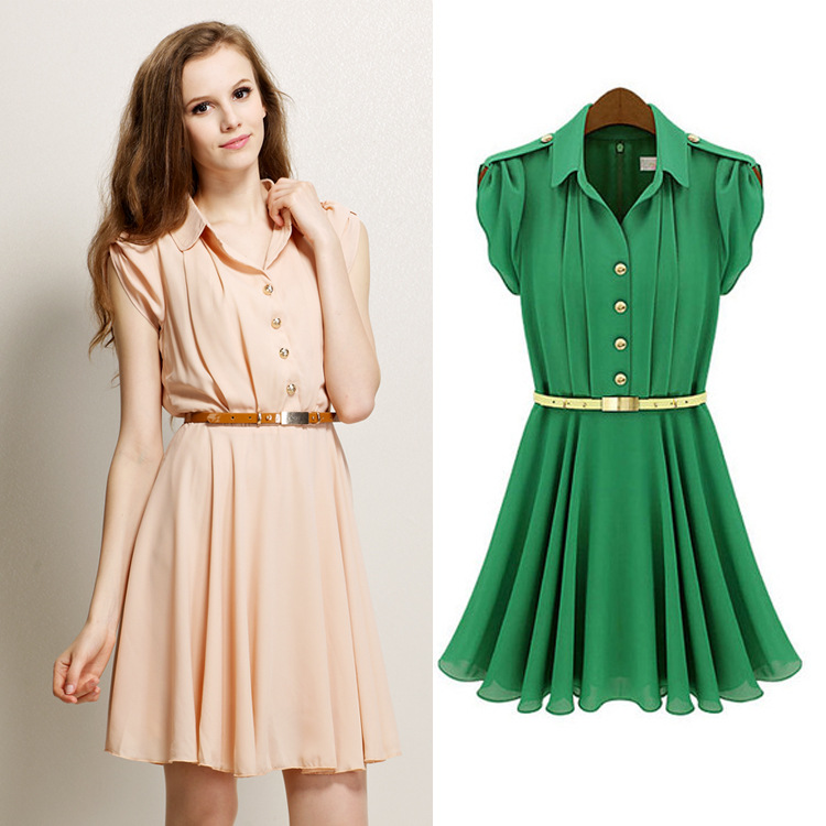 New 2014 Fashion Women Summer Spring Dress Lapel Single Breasted Tunic Chiffon Casual Dress Green Pink S/M/L/XL Free Shipping jm1288 fashionable chiffon sleeveless women s dress green size l