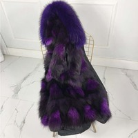 Real sliver fox Fur Parka Winter Women Jacket Warm Long natural sliver fox fur liner raccon dog fur collar hood warm