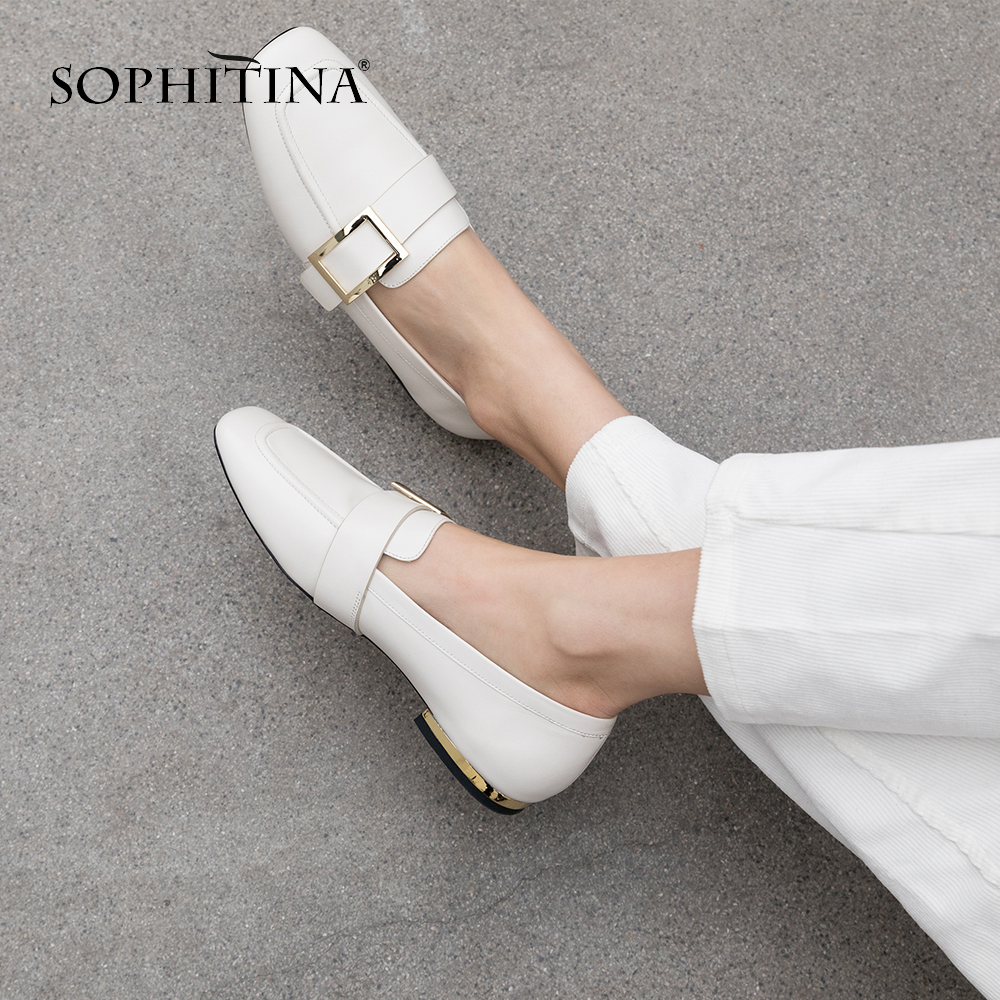 SOPHITINA Casual Loafers Women s Flats High Quality Genuine Leather Fashion Solid Shoes Fashion Metal Decoration