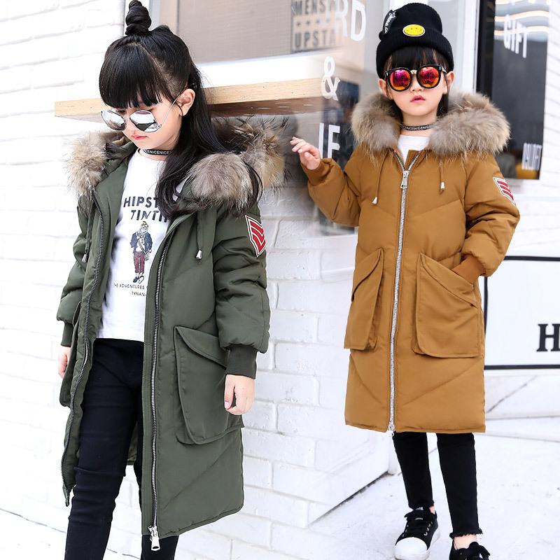 2017 New Fur Hooded Baby Teenage Winter Jacket For Girls Down Parka Girls Winter Coat Long Warm Thick Kids Children's Clothing цены онлайн