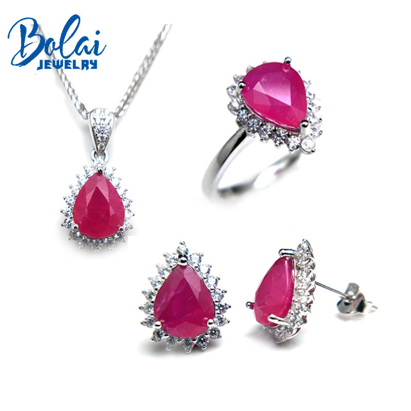 Bolaijewelry,natural ruby pendant or necklace and ring or earring jewelry set 925 sterling silver for women elegant wedding gift цена 2017