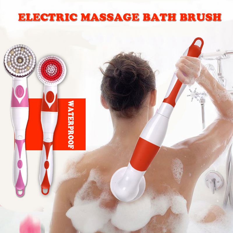NEW 4-In-1 Electric Bath Brush Long Handle Waterproof Body Cleansing Brush Massage Home Shower Clean Spa System Health Care