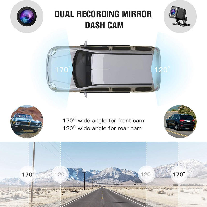 Image 4 - AUTMOR Car Dvr Mirror 4.3Inch Touch Screen FHD 1080P Car Rear View Mirror Camera Dual Lens Dash Cam Parking Monitor Black Box-in DVR/Dash Camera from Automobiles & Motorcycles