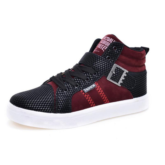 Men Casual Shoes Buckle Suede Breathable Patchwork High Cut Men Sport Shoes Non Slip Rubber Sole Outdoor Walking Fashion Shoes