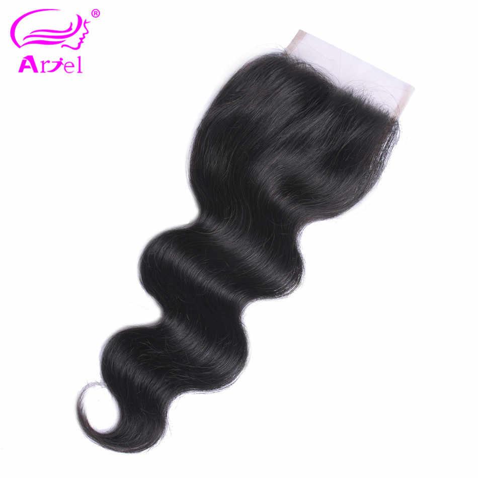 Волосы Ариэль перуанские волосы волнистые 4*4 Кружева Закрытие 100% человеческих волос натуральный цвет не Реми волосы бесплатно/средний/три части закрытие