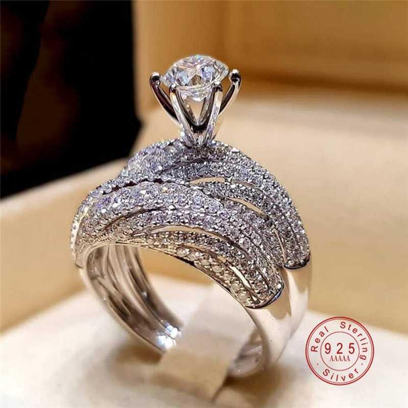 Nova moda sólida 925 prata esterlina 2 pc/set cz cristal anel de noivado casamento anel de zircão completo para as mulheres princesa anel de corte
