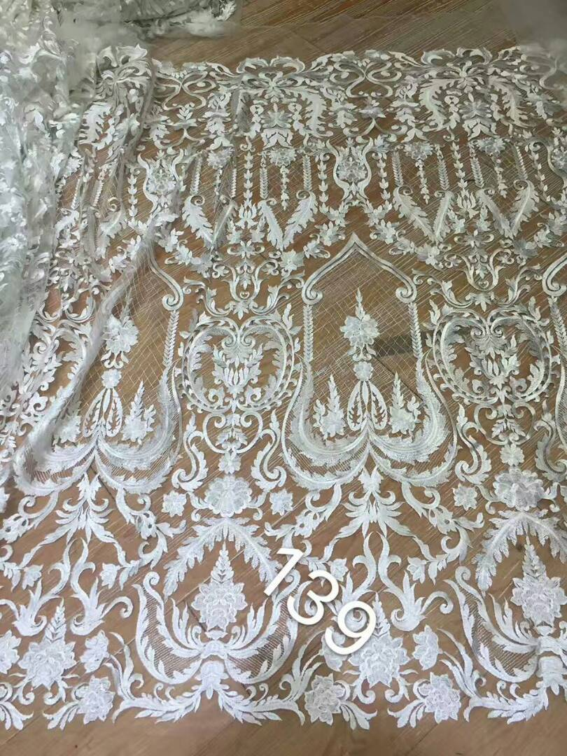 Apparel & Merchandise Ebay Motors White Beaded Appliqued Lace Fabric High Quality Latest African Lace 2018 Noble Handmade 3d Lace Fabric For Nigerian Party Fxa7