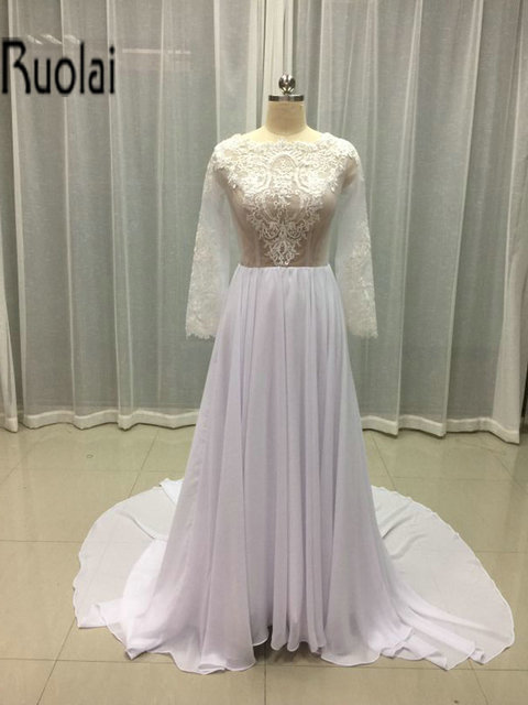 2016 New Arrival Elegant Lace Applique Tulle Chiffon A Line Simple Long Sleeves Formal Beach Wedding Dresses Plus Size
