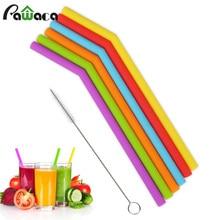 6 шт многоразовые силиконовые питьевой набор соломинок, длинные гибкие соломинки с чистящими щетками для 20 унций стакан бар вечерние соломинки