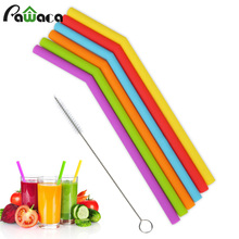 6Pcs Reusable Silicone Drinking Straws Set, Long Flexible Straws with Cleaning Brushes for 20 oz Tumbler Bar Party Straws