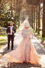 OumeiyaW0248 high neck full long sleeve heavy beaded lace hijab vestidos de noivas long sleeve muslim wedding dress