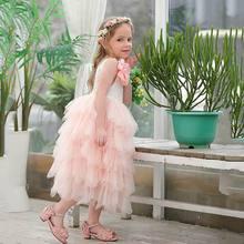 Verão nova menina vestido de renda princesa flor em camadas tule mid bezerro vestido de verão para festa de casamento crianças roupas e17103