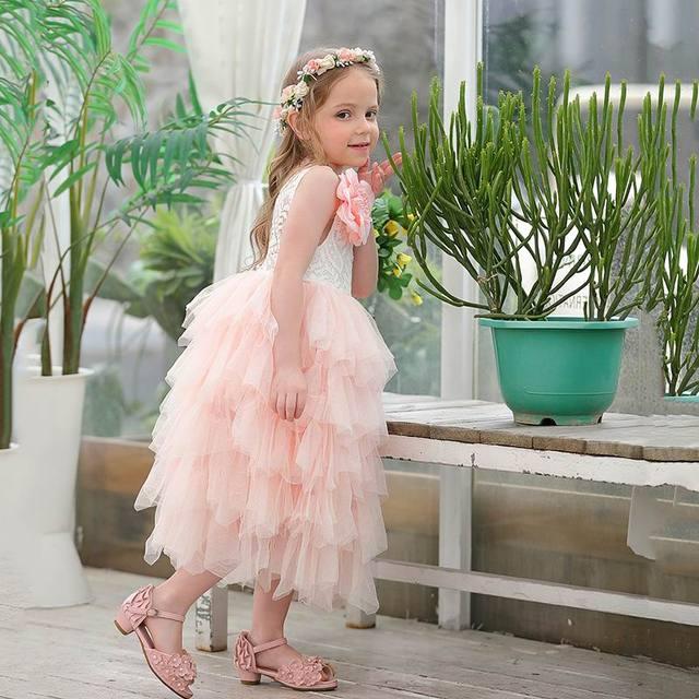 Été nouvelle fille robe en dentelle princesse fleur à plusieurs niveaux Tulle mi mollet robe de soleil pour fête de mariage enfants vêtements E17103