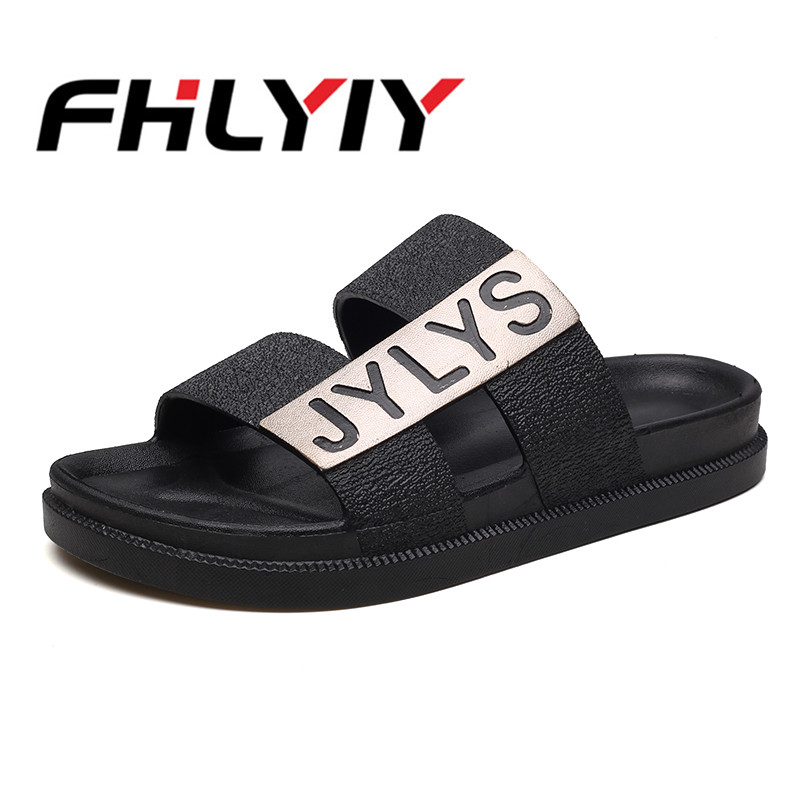 Men Letter Print Slippers Summer Casual Sandals Black Home Bathroom Outdoor Beach Breathable Man Sandal Flat Large Size Footwear
