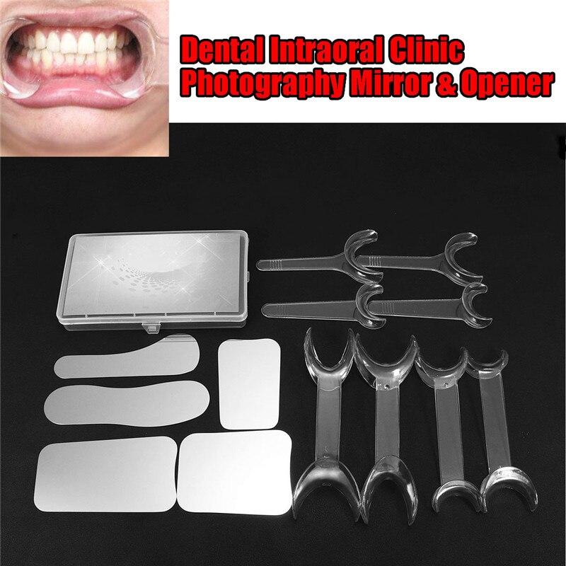 1 Set Dentaire Blanchiment Des Dents Outil Kit 10 pièces T-forme Intraorale Joue Rétracteur de Lèvre D'ouvreur + 5 pièces Orthodontique Photographie Miroir