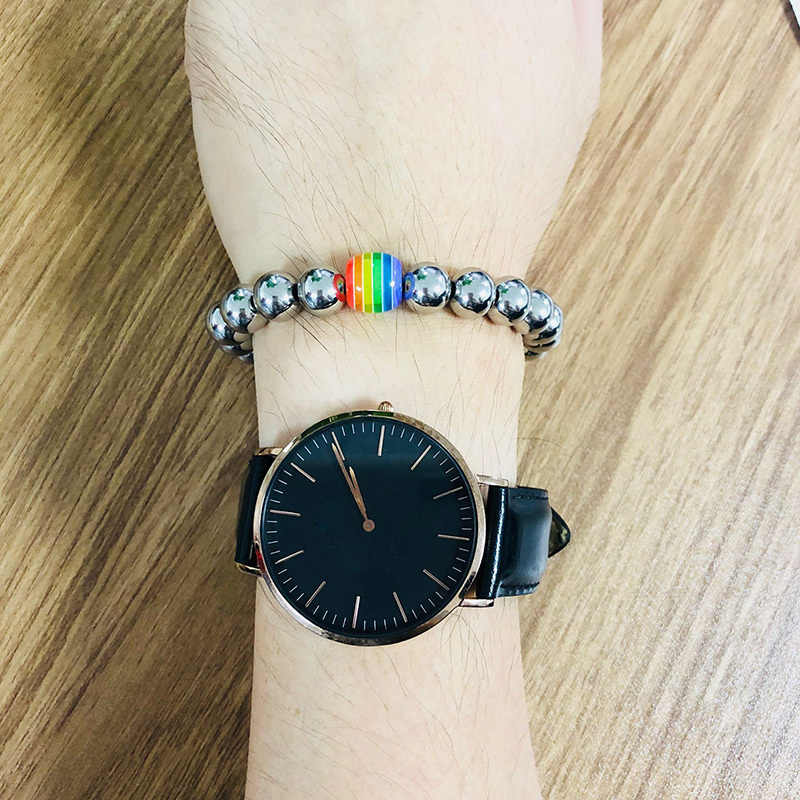 Vnox Stainless Steel Beaded Bracelets For Women Men Rainbow Beads Handmade Pride Jewelry