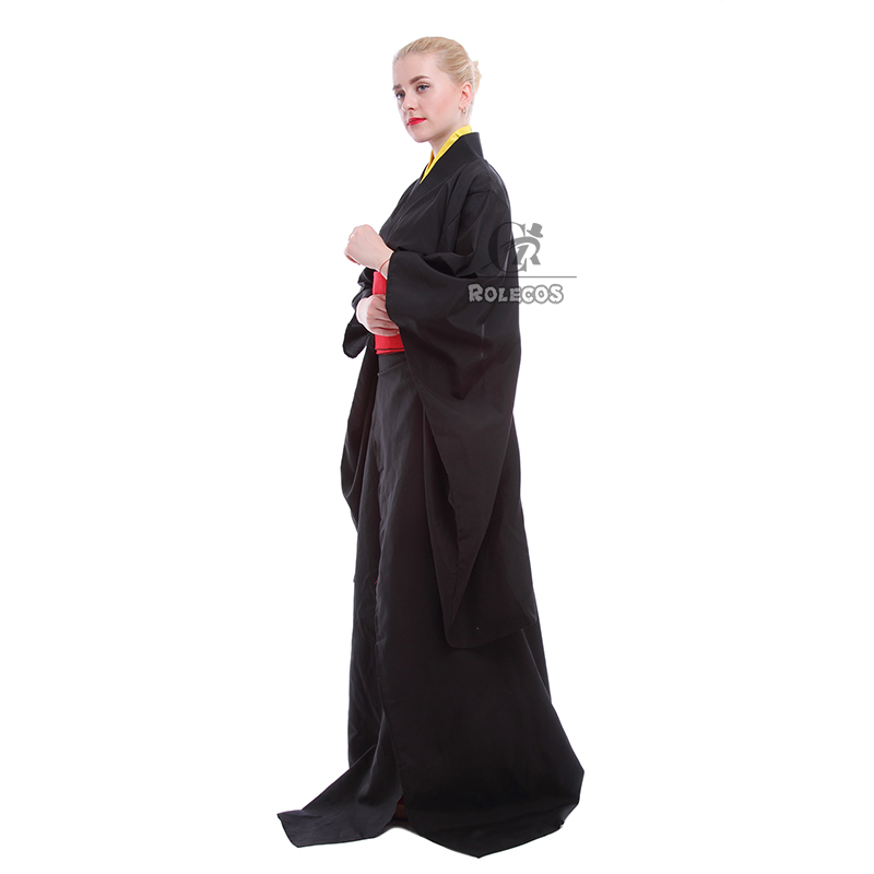 Rolecos Japanese Kimono Women Traditional Black Yukata Cosplay - Pakaian kebangsaan - Foto 3