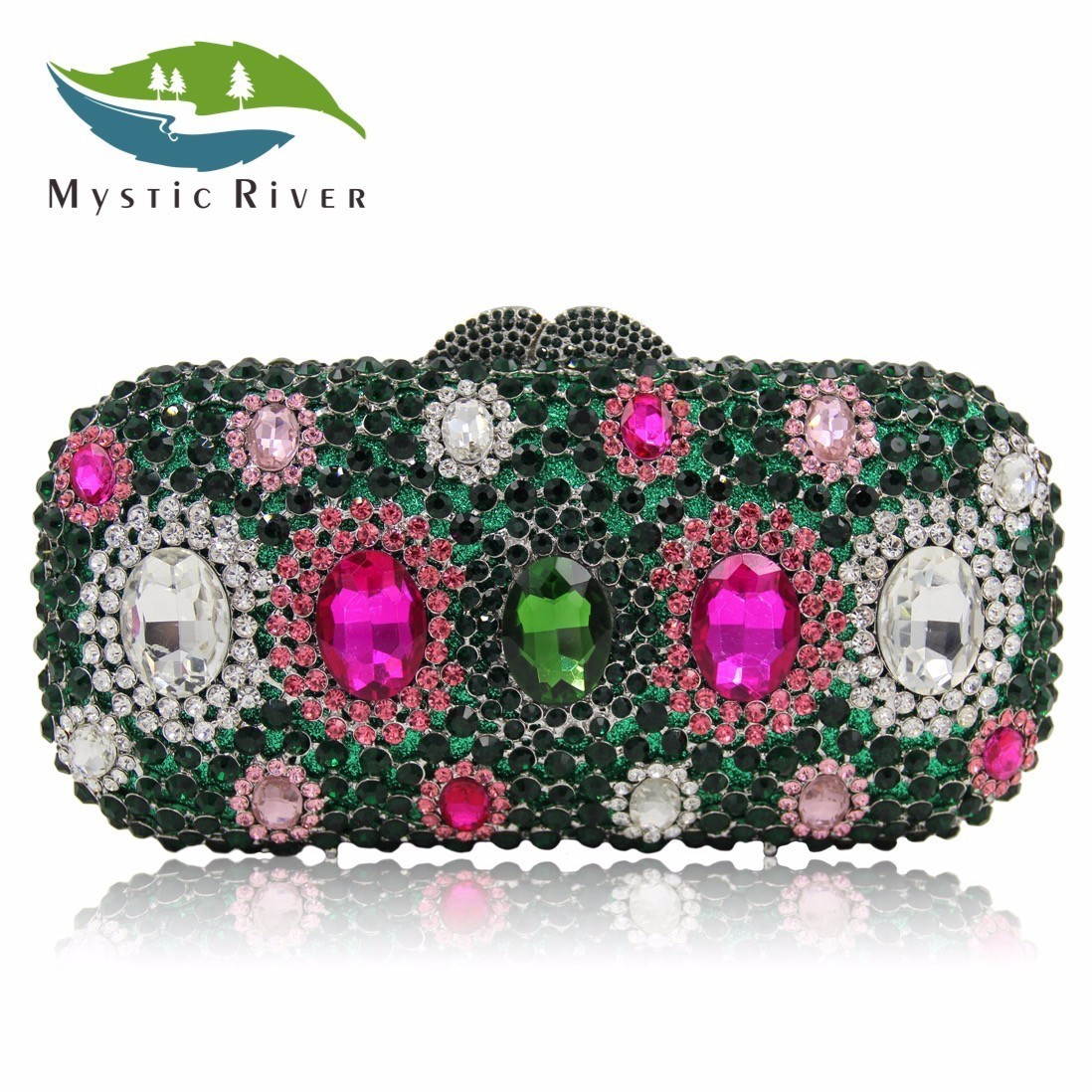 Mystic River Women Wedding Party Clutch Bags Green Stone Shoulder Handbag сумка river island river island ri004bwzyz56