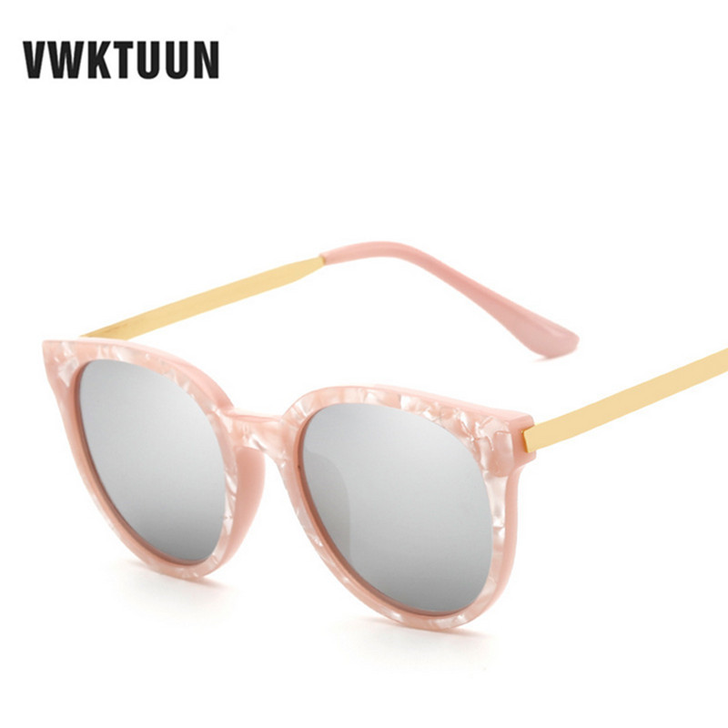 VWKTUUN Wanita Cateye Sunglasses Vintage Retro Frame Bunga Sunglass Korean Round Circle Sun goggle Female Outdoor Eyewear