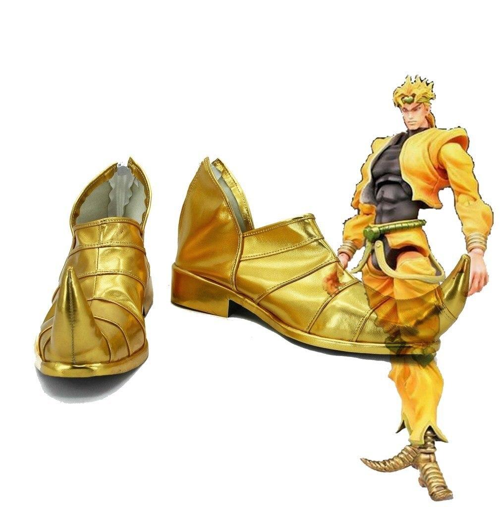 Dio Brando Shoes Cosplay JOJO S BIZARRE ADVENTURE 3 Dio Brando Cosplay Golden Flat Shoes Custom