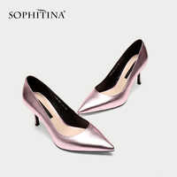 SOPHITINA Elegant Women's Pumps High Quality Cow Leather Sexy Pointed Toe New Shoes Wedding Sexy High Heels Hot Sale Pumps SO174