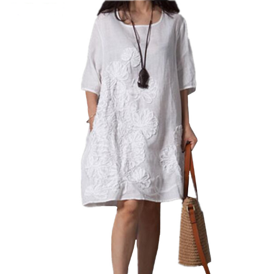 Cotton Linen Dress Women 2017 Summer New Fashion Costume Embroidery Dress Round Neck Middle Sleeves Loose Plus Size