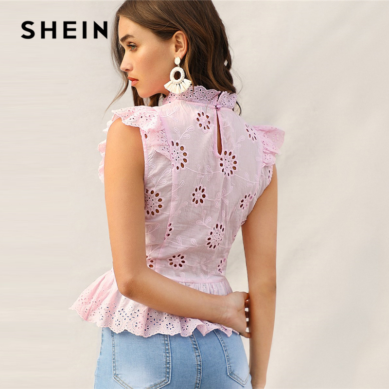 a21bf2a67b467 Cheap Blouses & Shirts, Buy Directly from China Suppliers:SHEIN Pink Ruffle  Trim Lace