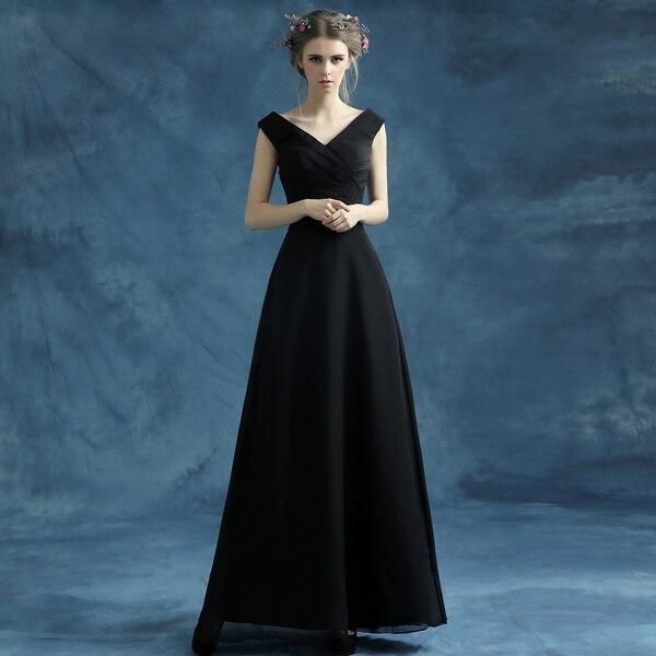 Sexy Black V Neck Bride And Bridesmaids Long Design Dress Formal
