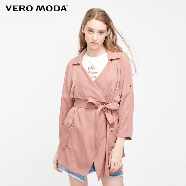 Vero Moda Women's 2019 New Lapel Adjustable sleeves Thin Wind Coat   319117503